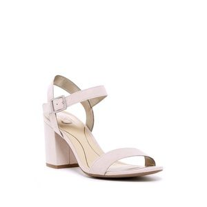NEW blush nude suede ankle strap block heel sandal